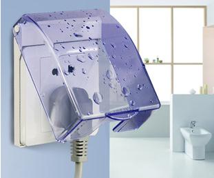 德力西开关插座 86型开关插座通用经典百搭蓝色透明防水盒防溅盒
