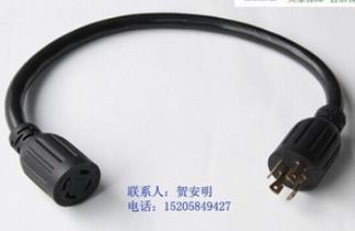 (厂家直销)UL美式四芯自带锁插头 美标自锁插 美规电源线