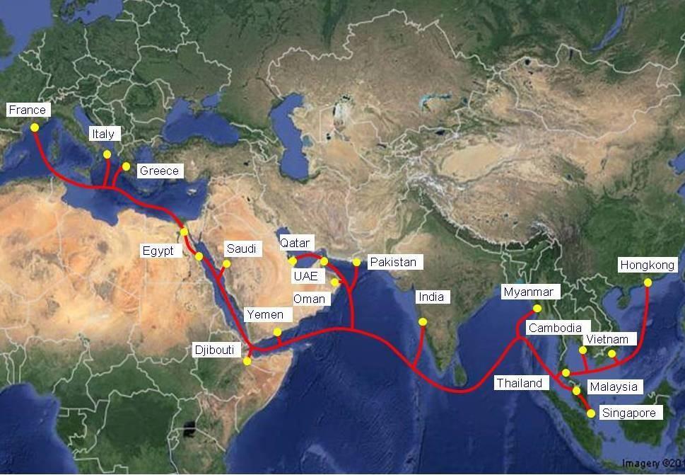 亚非欧-1电缆系统正式投入使用