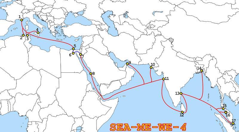 SeaMeWe-4金奈段进入维护期 互联网连接受影响