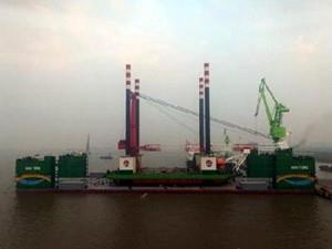 韩通船舶重工改造的HY36自升式风电安装船顺利下水