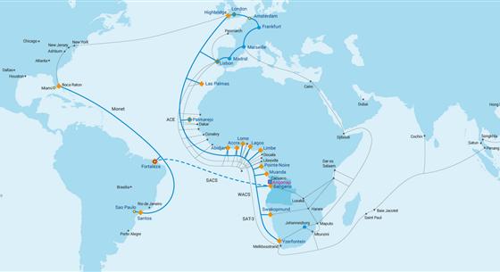 南美洲-撒哈拉以南非洲的海底光缆SACS成功投运