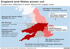 英国能源机构启动对8·9大规模停电事故调查