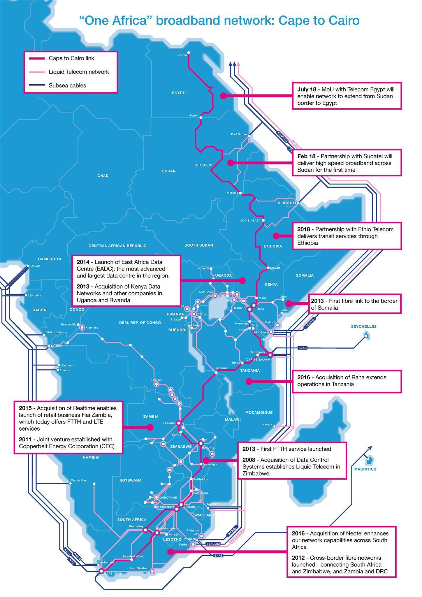 非洲Liquid Telecom拟建光纤系统直连东非和西非