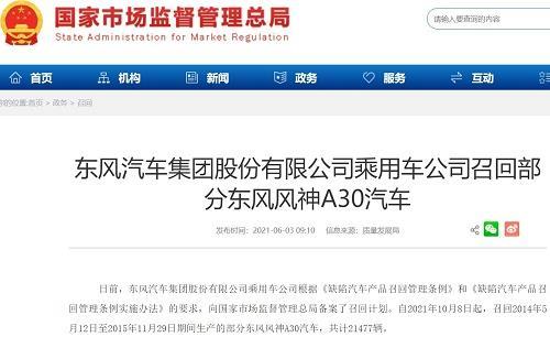 东风汽车集团股份有限公司乘用车公司召回21477辆东风风神A30汽车