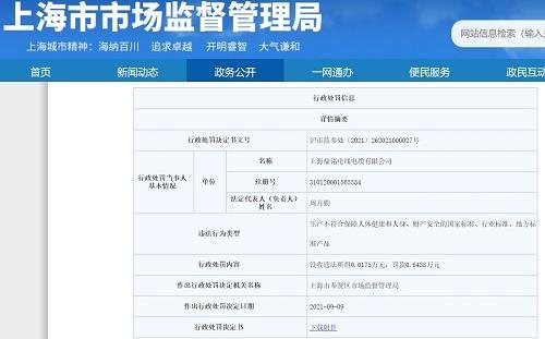 上海鼎铭线缆生产不合格电线电缆产品被罚
