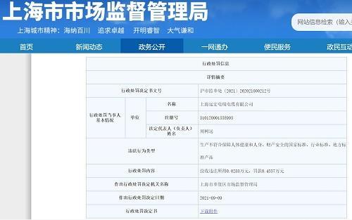 上海远宏线缆生产不合格电线电缆产品被罚